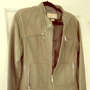 Sage Michael Kors Leather Motorcycle Jacket
